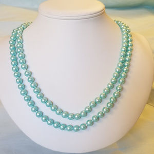 "4/$30 NWT Handmade Glass ""Pearl"" Necklace Blue 48"""